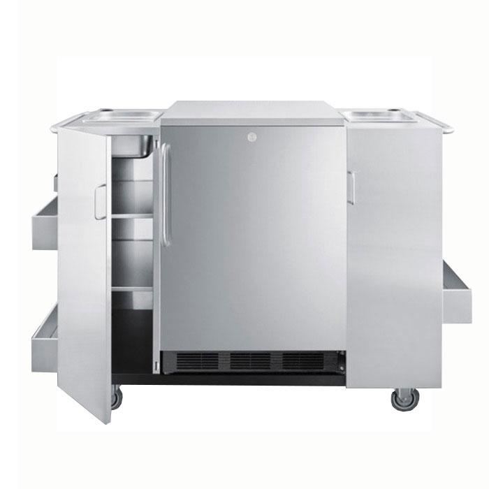 Summit Refrigeration CARTOS Outdoor Serving Cart w/ 2-Towel Bar Handles, Locking Doors & 3-Shelves, Stainless