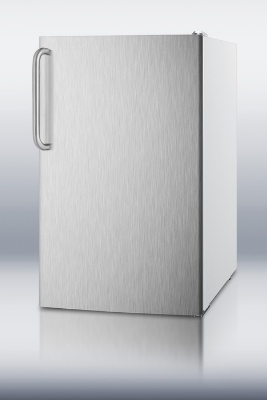 Summit Refrigeration CM405SSTB 20-in Refrigerator Freezer w/ Manual Defrost & Pro Towel Bar Handle, White, 4.1-cu ft