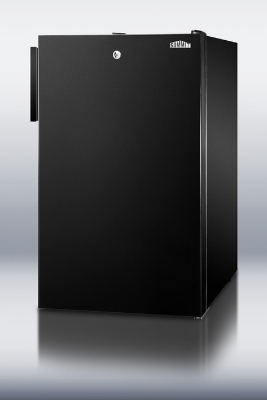 Summit Refrigeration CM421BLBI 20-in Freestanding Refrigerator Freezer w/ Lock & Manual Defrost, Jet Black, 4.1-cu ft