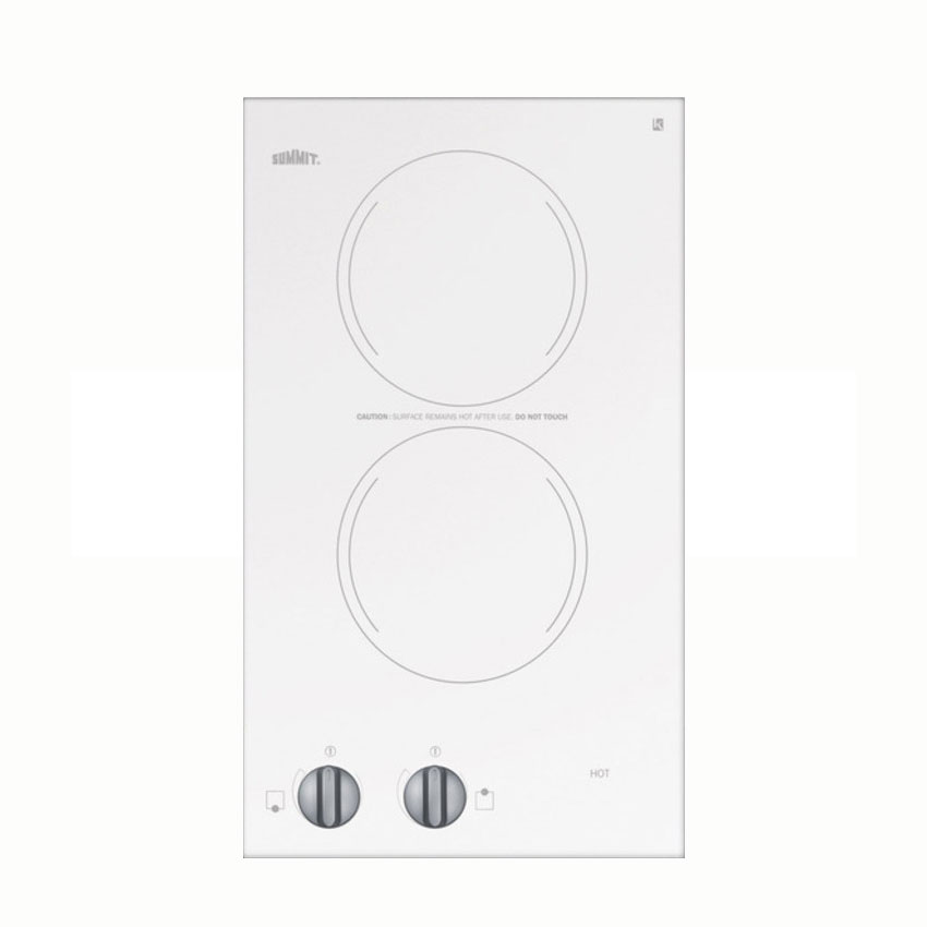 Summit Refrigeration CR2110WH Counter Cooktop w/ 2-Burners & Push-to-Turn Control Knobs, White, 115V