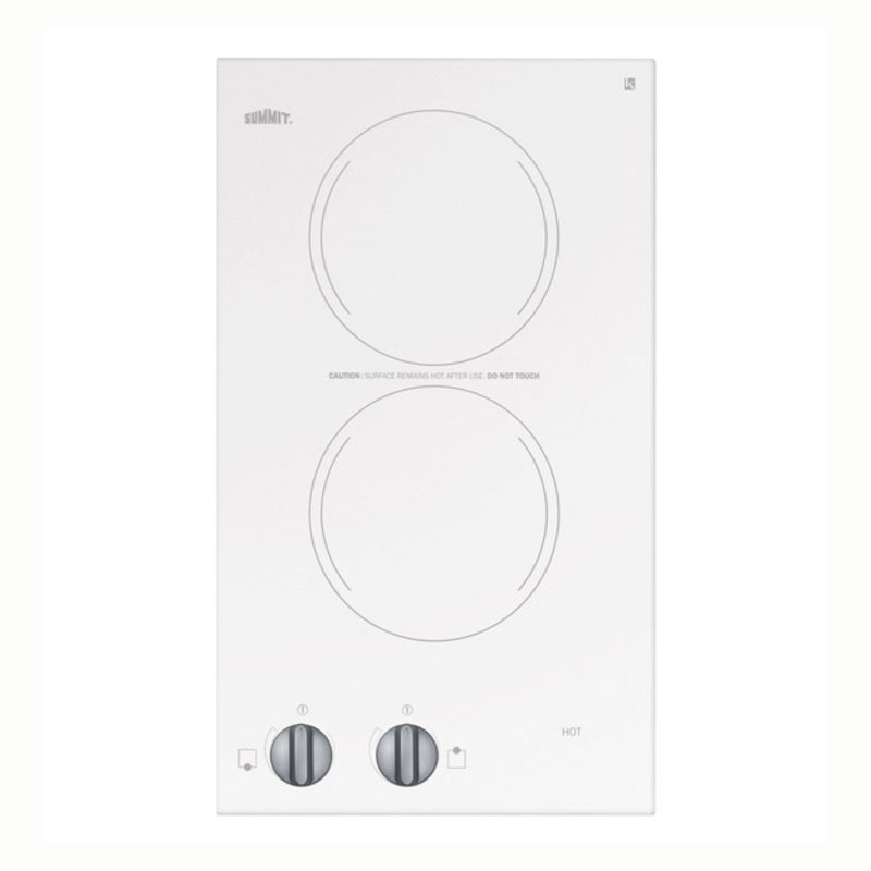 Summit Refrigeration CR2220WH Cooktop w/ 2-Burner & Push-Turn Knob, Indicator Light, 11.13 x 19.13-in, 230/1 V