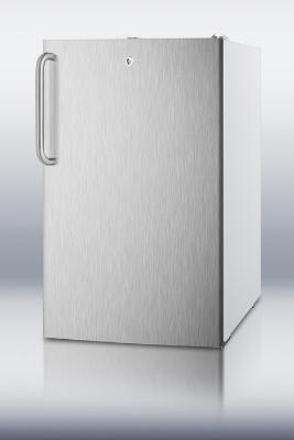 Summit Refrigeration FF511LBISSTBADA 20-in Undercounter Refrigerator w/ Auto Defrost & Lock, Stainless/White, 4.5-cu ft, ADA