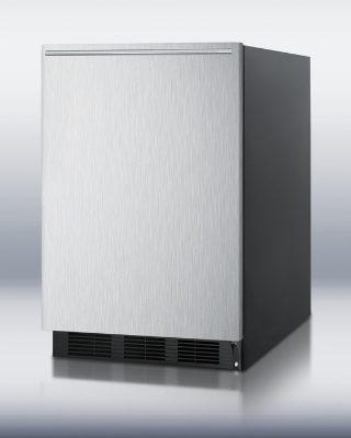 Summit Refrigeration FF6BBISSHH BLK 24-in Undercounter Refrigerator w/ Glass Shelves & Auto Def