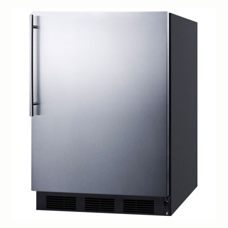 Summit Refrigeration FF6BBISSHVADA BLK 24-in Undercounter Refrigerator w/ Vertical Handle & Auto Defrost, Black, 5.5-cu