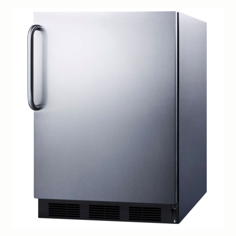 Summit Refrigeration FF6BCSSADA Undercounter Refrigerator w/ Curved Towel Bare & Auto Defrost, Stainless, 5.5-cu ft, ADA