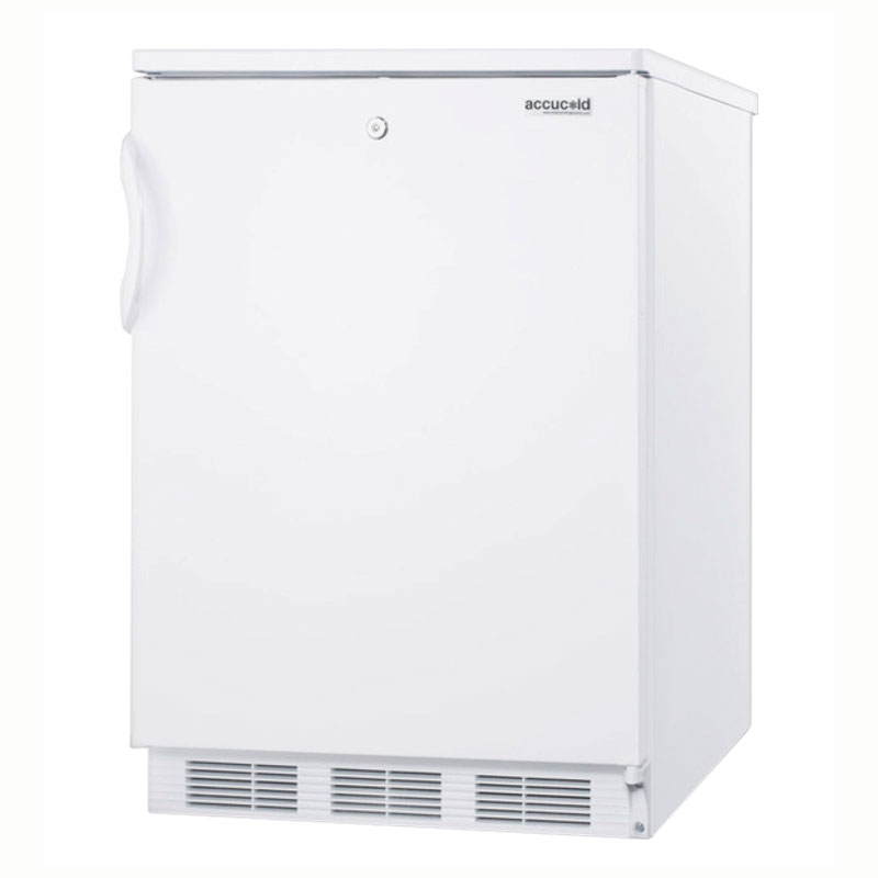 Summit Refrigeration FF6LBI Undercounter Refrigerator w/ 1-Section, Front Lock & Auto Defrost, White, 5.5-cu ft, ADA