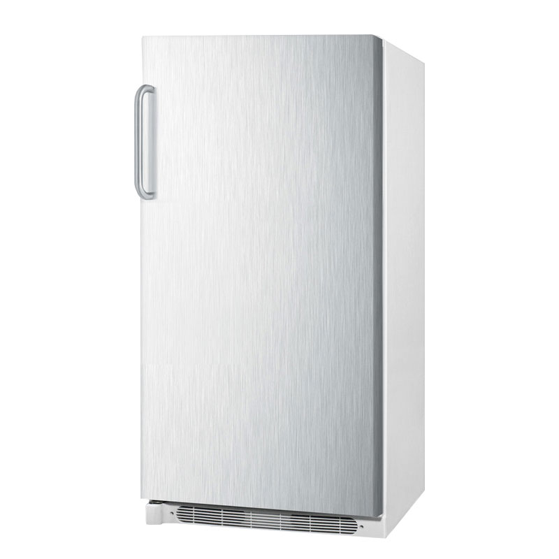 Summit Refrigeration R17FFSSTB Refrigerator w/ Frost Free Operation & Fan Forced Cooling, White/Stainless, 15.6-cu ft