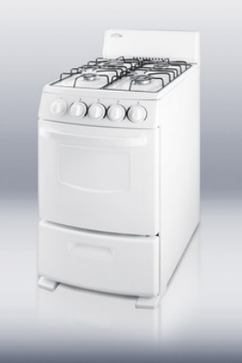 Summit Refrigeration R200W 20-in Deluxe Range w/ 2.6-cu ft Oven Capacity, Apartment Size, LP or NG