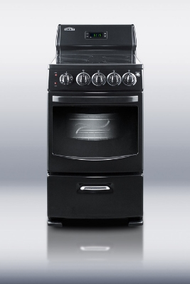 Summit Refrigeration REX204BL 20-in Range w/ 4-Zones, Digital Clock, Lower Storage & Oven Window, Jet Black