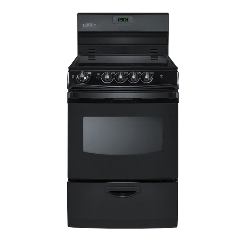 "Summit Refrigeration REX243B 24"" Electric Range w/ Ceramic Cooktop, Digital Timer, 220v"