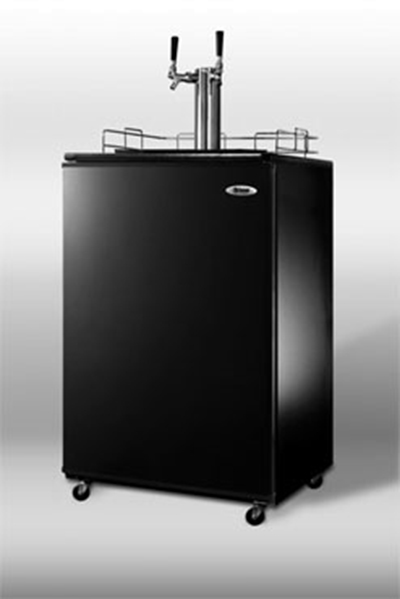 "Summit Refrigeration SBC4907TWIN 23.75"" Draft Beer System w/ (1) Keg Capacity - (1) Column, Black, 115v"