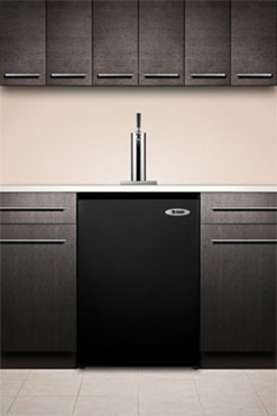 "Summit Refrigeration SBC490BI 23.75"" Draft Beer System w/ (1) Keg Capacity - (1) Column, Black, 115v"