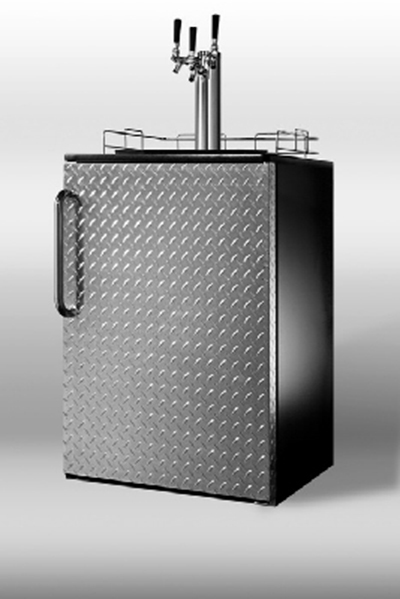 Summit Refrigeration SBC490BIDPLTRIPLE Beer Dispenser w/ Triple Tap Kit, Casters, Top Rail Guard & Auto Defrost, Black, 6-cu ft