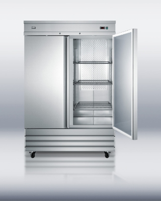 Summit Refrigeration SCFF495 SS Reach In Freezer w/ 2-Door, Bottom Compressor & 2-Locks, Stainless, 46.6-cu ft