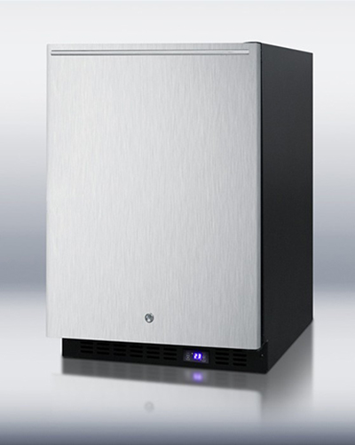 Summit Refrigeration SCFF51OSXSSHHIM 24-in Frost-Free Freezer, Icemaker & Horizontal Handle, LED, Black, 4.9-cu ft