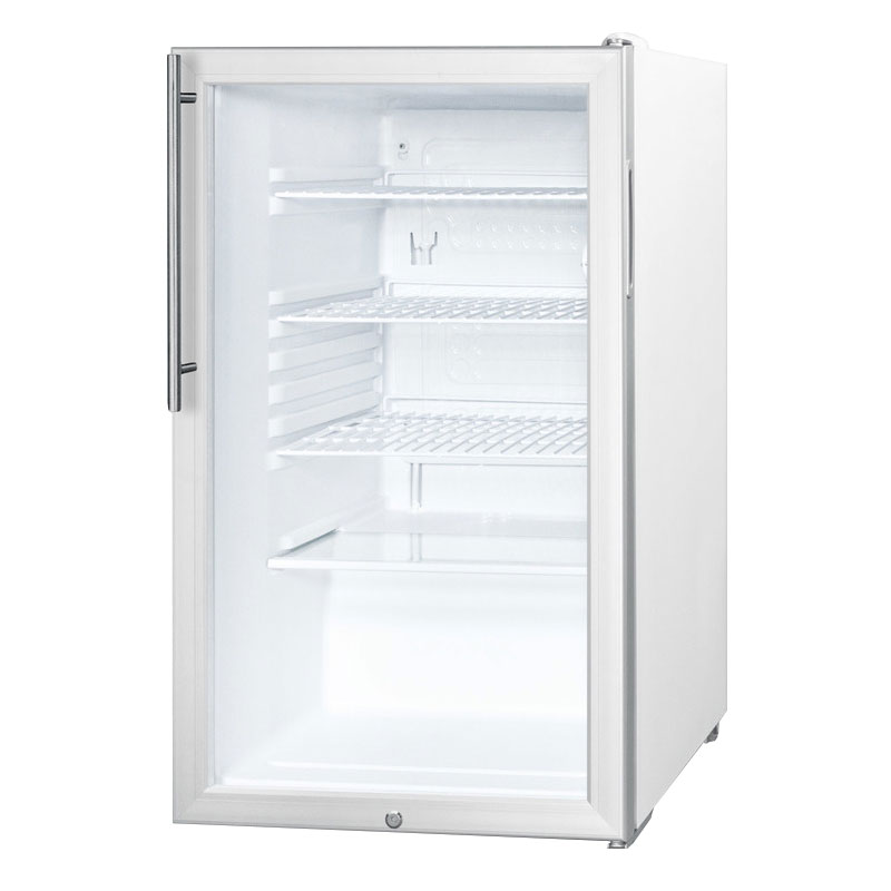 Summit Refrigeration SCR450L7HV Counter Height Refrigerator w/ Auto Defrost, Lock & Sleek Handle, White, 4.1-cu ft