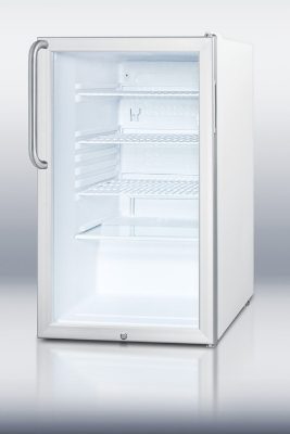 Summit Refrigeration SCR450L7TB Counter Height Refrigerator w/ Curved Towel Bar Handle & Auto Defrost, White, 4.1-cu ft