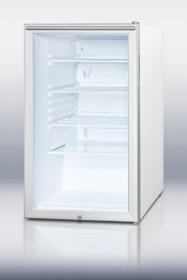 Summit Refrigeration SCR450LBIHHADA Undercounter Refrigerator w/ Reversible Door, Lock & Interior Light, White, 4.1-cu ft, ADA