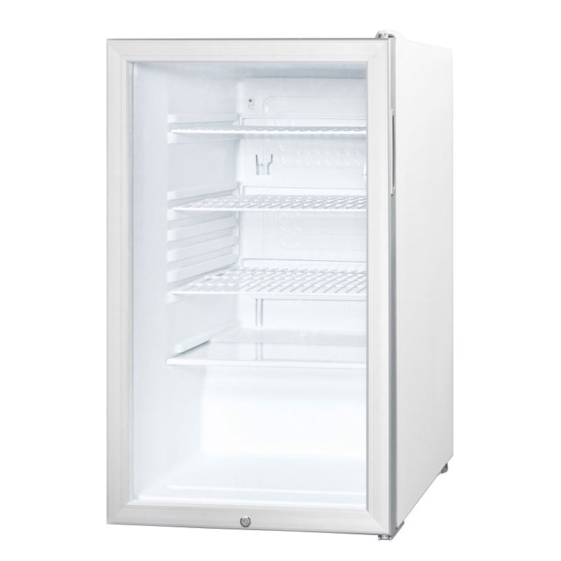 Summit Refrigeration SCR450LHHADA Refrigerator, 4.1-cu ft, Glass Door, Horizontal Handle, ADA, White