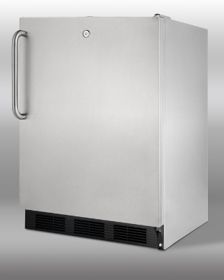 Summit Refrigeration SCR600LOSBISD Built In Refrigerator w/ Lock, Auto Defrost & Sealed Back, Stainless, 5.5-cu ft