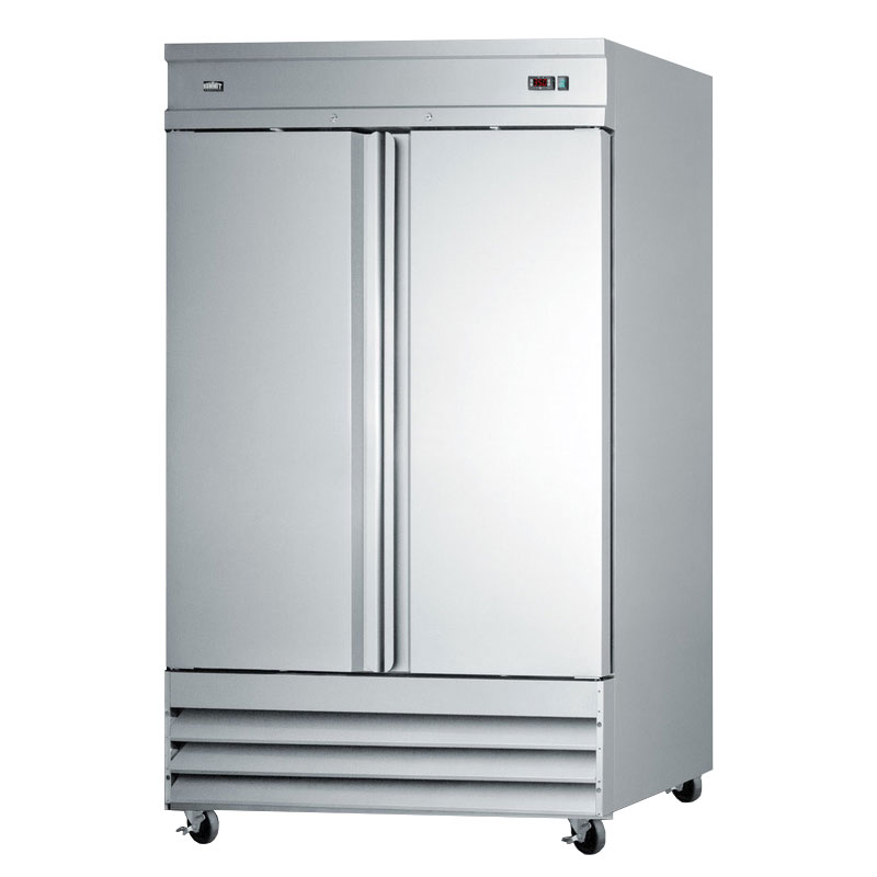 Summit Refrigeration SCRR490 SS Reach In Refrigerator w/ 2-Self Closing Doors & Bottom Compressor, S