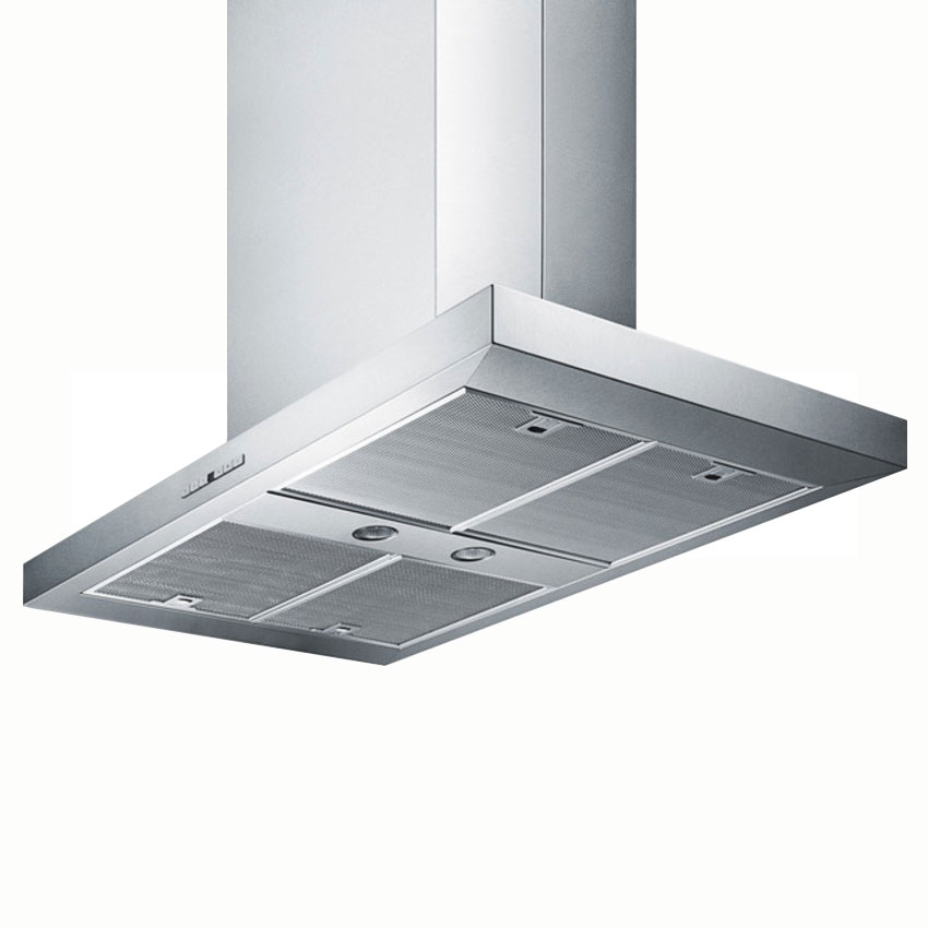 Summit Refrigeration SEIH4636CV4 36-in Island Range Hood w/ Adjustable Chimney & 4-Speed Fan, Stainless