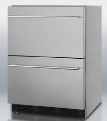 Summit Refrigeration SP6DS2DOS Outdoor Refrigerator w/ 2-Drawer, Auto Defrost & Sealed Back, Panel Kit, Stainless