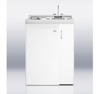Summit Refrigeration C301GLASS 30-in Combo Kitchen - 2-Ceramic Burners, Refrigerator, Freezer, 4.1-cu ft
