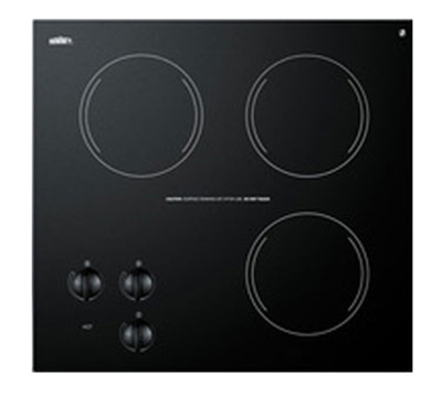 Summit Refrigeration CR3240 Cooktop w/ 3-Burners & Residual Heat Indicator Light, 19.88-inx18.38-in, 230/1V, Black