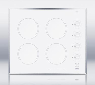 Summit Refrigeration CR424WH Cooktop w/ 4-Burners & Residual Heat Indicator Light, 22.13-inx18.63-in, 220/1V, White