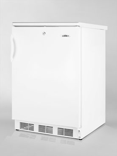 Summit Refrigeration FF6L Undercounter Refrigerator w/ Reversible Door & Auto Defrost, White, 5.5-cu ft