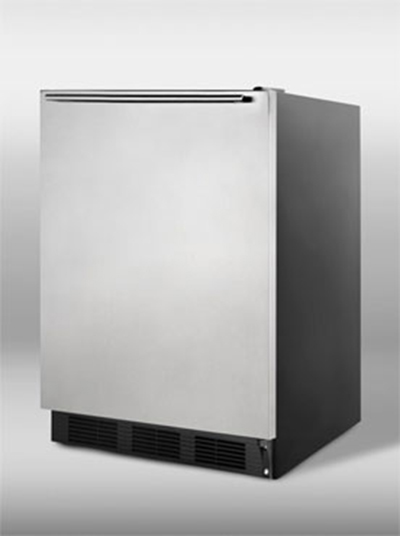 Summit Refrigeration FF7BSSHH Undercounter Refrigerator w/ Reversible Door & Auto Defrost, Black/Stainless, 5.5-cu ft