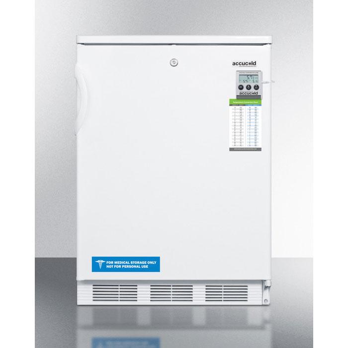 Summit Refrigeration FF7LBIMED Undercounter Refrigerator w/ Temperature Alarm & Auto Defrost, White, 5.5-cu ft