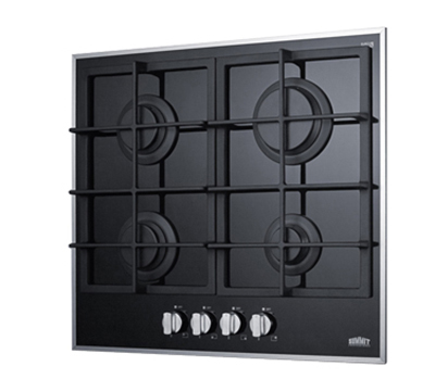 Summit Refrigeration GC424BGL Gas On Glass Cook Top w/ 4-Sealed Burner, Electronic Spark Ignition, 12.75x18.75-