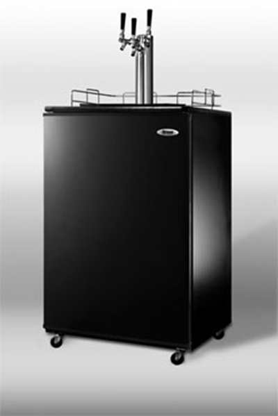 Summit Refrigeration SBC4907TRIPLE 23.75-in Beer Dispenser w/ Auto Defrost & Triple Tap Kit, Black/Stainless
