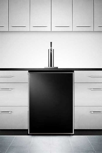 Summit Refrigeration SBC490B 23.75-in Beer Dispenser w/ Adjustable Thermostat, Auto Defrost, Black
