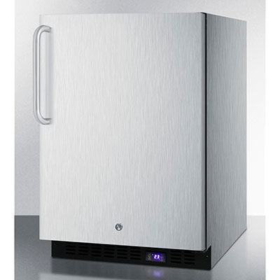 Summit Refrigeration SCFF51OSSSTB Outdoor Freezer w/ Digital Thermostat, Lock & Towel Bar, Black, 4.9-cu ft
