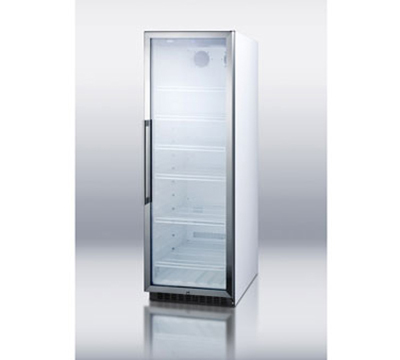 Summit Refrigeration SCR1400W Frost Free Upright Refrigerator w/ 1-Section, 4-Shelf & Lock, White, 14.5-cu ft