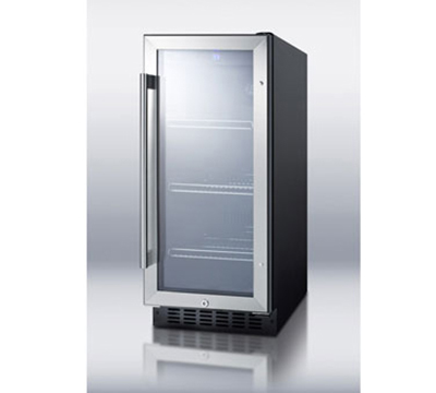 Summit Refrigeration SCR1536B Beverage Refrigerator - 1-Zone, Sealed Back, Auto Defrost, Black, 2.94-cu ft