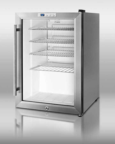 Summit Refrigeration SCR312LCSS Beverage Merchandiser w/ Auto Defrost, Glass Door & 16-in Handle, Stainless, 2.5-cu ft