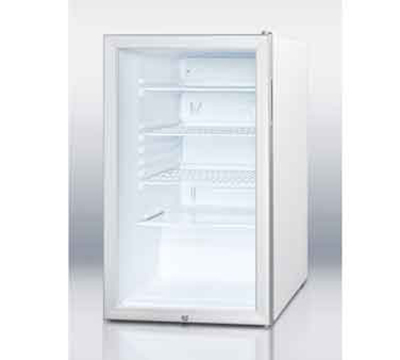 Summit Refrigeration SCR450L7 20-in Undercounter Refrigerator w/ Reversible Door & Auto Defrost, White, 4.1-cu ft