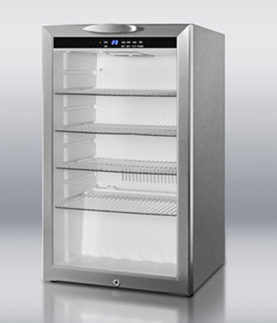 Summit Refrigeration SCR485LCSS Beverage Merchandiser w/ 1-Section, Reversible Door Swing, Auto Defrost, Stainless 4-cu ft