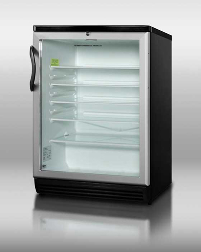 Summit Refrigeration SCR600BL Beverage Merchandiser w/ Reversible Door Swing & Auto Defrost, Black, 5.5-cu ft