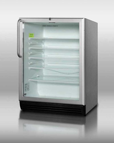 Summit Refrigeration SCR600BLCSS Beverage Merchandiser w/ Auto Defrost, Glass Shelf & Interior Light, Stainless, 5.5-cu ft