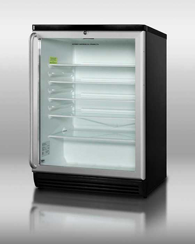 Summit Refrigeration SCR600BLSH Beverage Merchandiser w/ Auto Defrost, Glass Shelf & Double Pane Door, Black, 5.5-cu ft