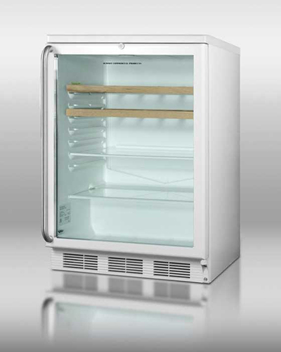 Summit Refrigeration SCR600LSHWO Beverage Merchandiser w/ Auto Defrost & Double Pane Glass Door, White, 5.5-cu ft