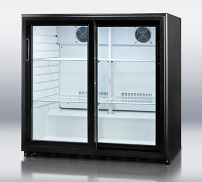 Summit Refrigeration SCR700 Beverage Merchandiser w/ 1-Section, Auto Defrost & Sliding Doors, Black, 6.5-cu ft
