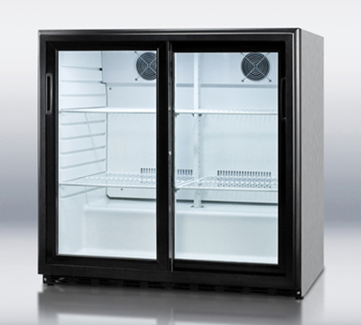 Summit Refrigeration SCR700CSS Beverage Merchandiser w/ 1-Section, Auto Defrost & Sliding Doors, S