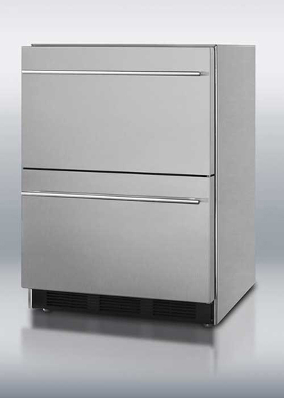Summit Refrigeration SP6DS2D7 24-in Drawer Type Refrigerator w/ Spring Assist Rollers & Auto Defrost, Stainless