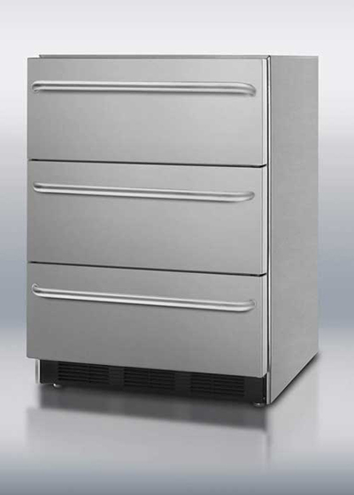 Summit Refrigeration SP6DSSTBOS 24-in Outdoor Refrigerator w/ 3-Drawer, Towel Bar & Auto Defrost, Stainless, ADA